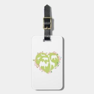 Animals in a Heart Shape Luggage Tag