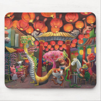 Animals in China Town Mouse Mat