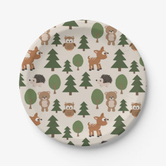 Animals in Forest Paper Plate