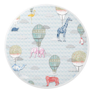 Animals in Hot Air Balloons Ceramic Knob