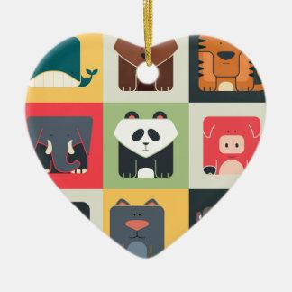 Animals in Square Ceramic Heart Decoration