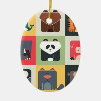 Animals in Square Christmas Ornament