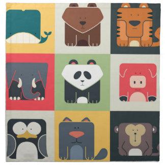 Animals in Square Napkin