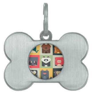 Animals in Square Pet Name Tag
