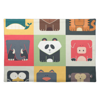 Animals in Square Placemat