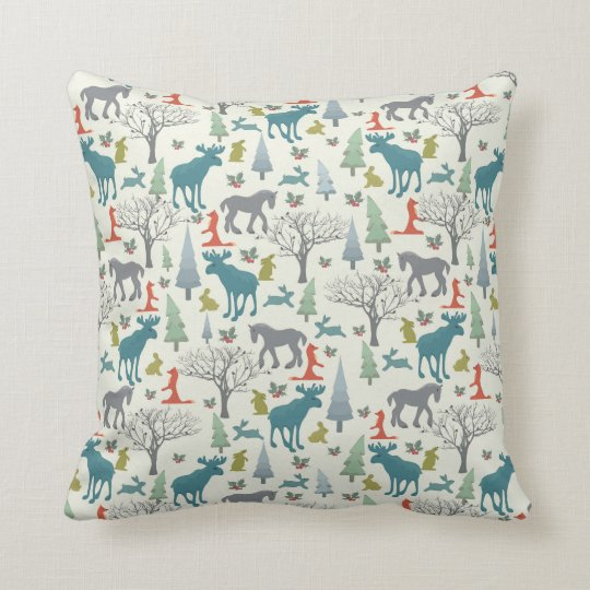 Animals in the Christmas forest Throw Pillow