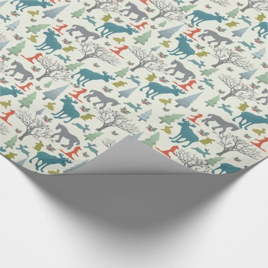 Animals in the Christmas forest Wrapping Paper
