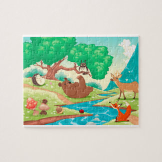 Animals in the wood. Cartoon landscape. Jigsaw Puzzle