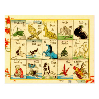 Animals labeled in Japanese & English Postcard