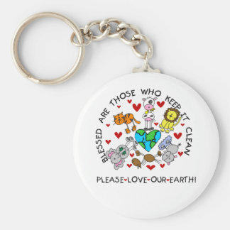 Animals Love Our Earth Basic Round Button Key Ring