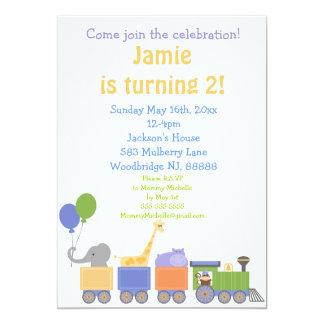 Animals On A Train Birthday Invitations