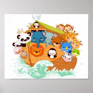 Animals On Noahs Art Poster