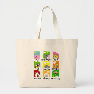 Animals on Parade Tshirts and Gifts Large Tote Bag