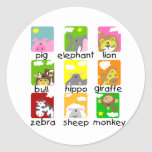 Animals on Parade Tshirts and Gifts Round Stickers