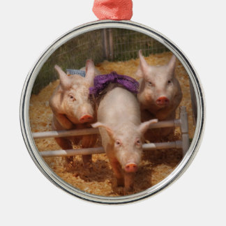 Animals - Pig - Getting past hurdles Silver-Colored Round Decoration