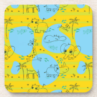 Animals playing baby pattern background beverage coasters