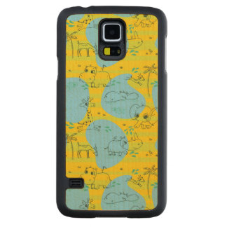 Animals playing baby pattern background carved maple galaxy s5 case
