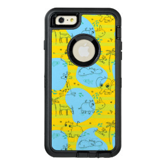 Animals playing baby pattern background OtterBox defender iPhone case