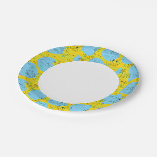 Animals playing baby pattern background paper plate
