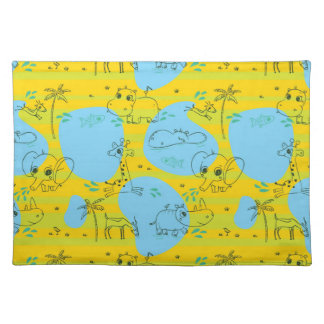 Animals playing baby pattern background placemat