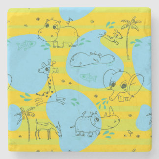 Animals playing baby pattern background stone beverage coaster