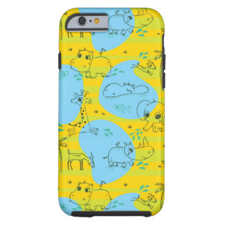 Animals playing baby pattern background tough iPhone 6 case