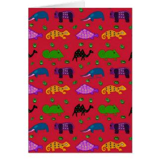 Animals - Purple Turtles & Blue Elephants Greeting Card