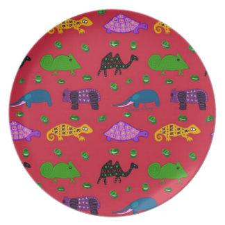 Animals - Purple Turtles & Blue Elephants Dinner Plates