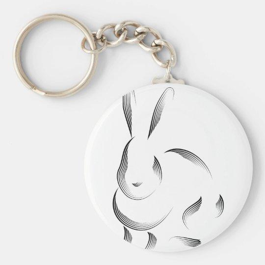 Animals - Rabbit Basic Round Button Key Ring