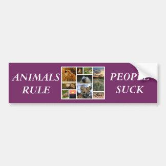 ANIMALS RULE PEOPLE SUCK BUMPER STICKER