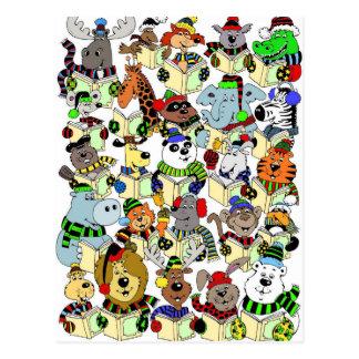 Animals singing Christmas carols Postcard