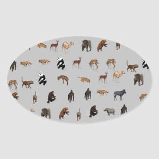 Animals Oval Stickers