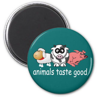Animals Taste Good - Changeable Background Color 6 Cm Round Magnet