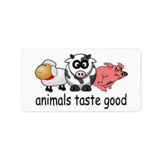 Animals Taste Good - Funny Meat Eaters Design Address Label