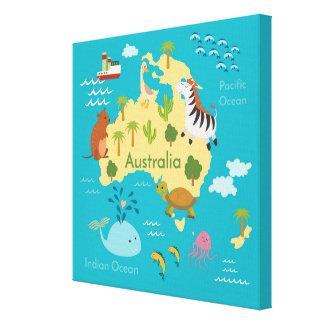 Animals World Map of Australia For Kids Canvas Print