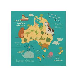 Animals World Map of Australia For Kids Wood Print