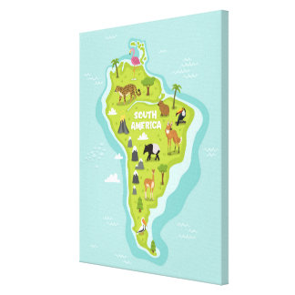 Animals World Map of South America For Kids Canvas Print