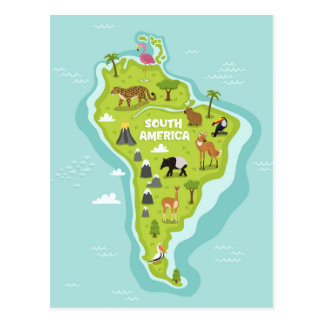 Animals World Map of South America For Kids Postcard