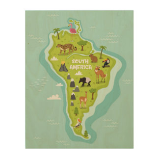 Animals World Map of South America For Kids Wood Prints