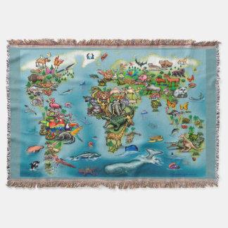 Animals World Map Throw Blanket