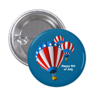Animated American Flag July 4th Hot Air balloon 3 Cm Round Badge