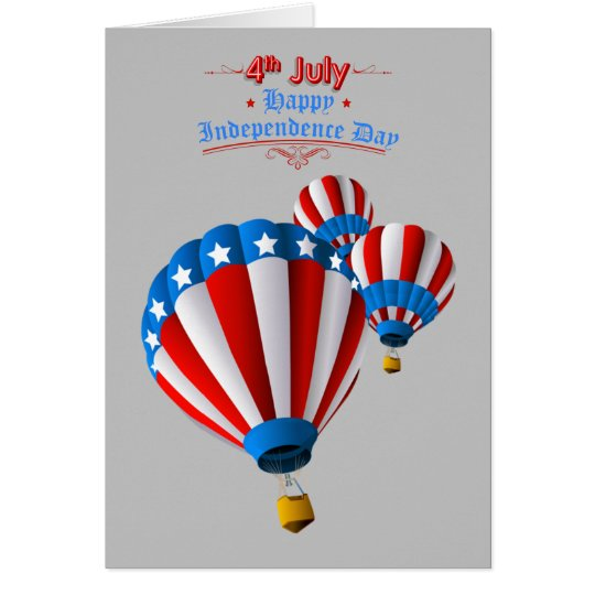 Animated American Flag July 4th Hot Air balloon Card