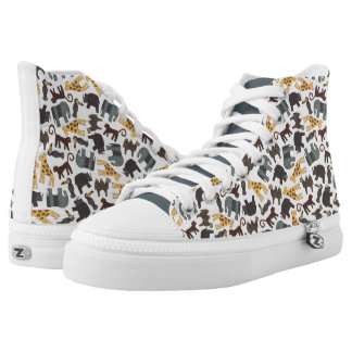 Animated Animals Background Printed Shoes