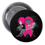 Animated Boy Cancer Sucks - Breast Cancer Pinback Buttons
