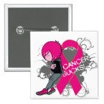 Animated Boy Cancer Sucks - Breast Cancer Pinback Button