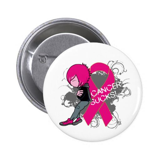 Animated Boy Cancer Sucks - Breast Cancer Pinback Button