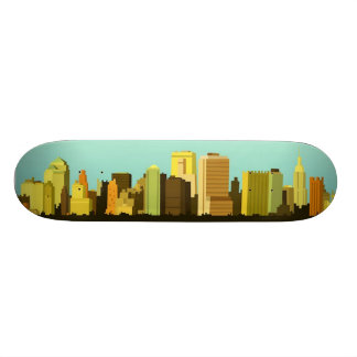 Animated Cityscape Skate Deck