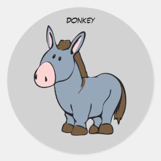 Animated Donkey Round Sticker