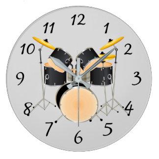 Animated drum set large clock