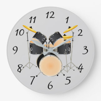 Animated drum set wallclocks